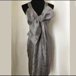 BCBGeneration Silver Bow Front Cocktail Dress